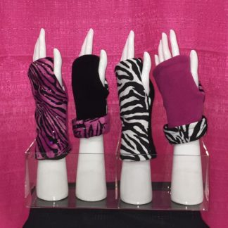 Fingerless Gloves Reversible TURTLE GLOVES Pink Zebra