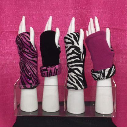 Fingerless Gloves Reversible TURTLE GLOVES Pink Zebra