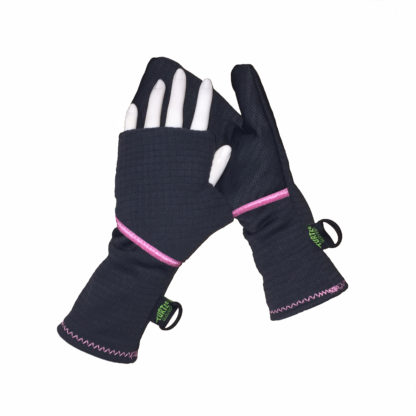Turtle Gloves Turtle-Flip Running Mittens Lightweight Grid Gray Pink Trim