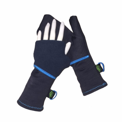 Turtle Gloves Turtle-Flip Running Mittens Midweight Winter Soft Charcoal Blue Trim
