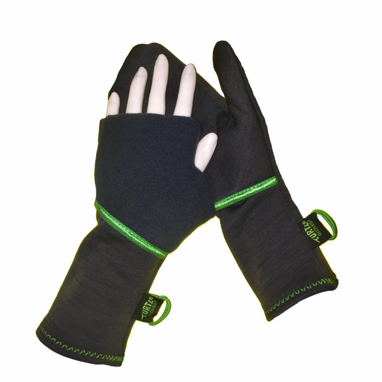 Turtle Gloves Turtle-Flip Running Mittens Midweight Winter Soft Charcoal Green Trim