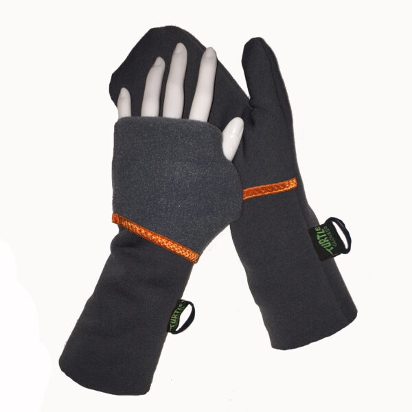 Turtle Flip Convertible Mittens Charcoal with Orange Trim