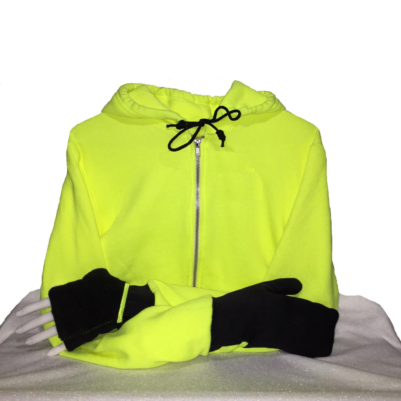 Mitten Hoodie Turtle Gloves Neon Yellow Black