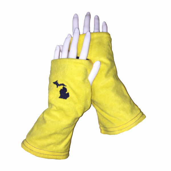 Michigan Gloves Blue and Yellow Turtle Gloves REVERSIBLE Fingerless