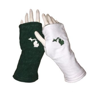 Michigan Gloves Green and White Turtle Gloves REVERSIBLE Fingerless