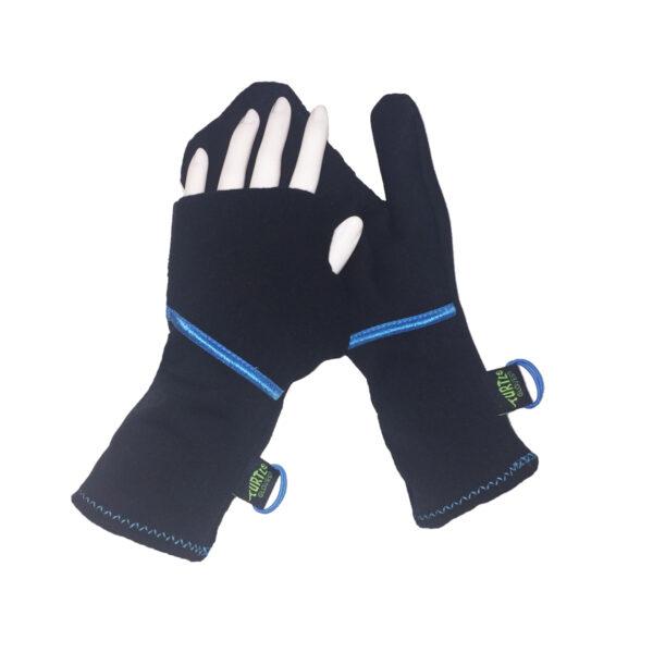 Turtle Gloves Turtle-Flip Running Mittens Lightweight Black Blue Trim