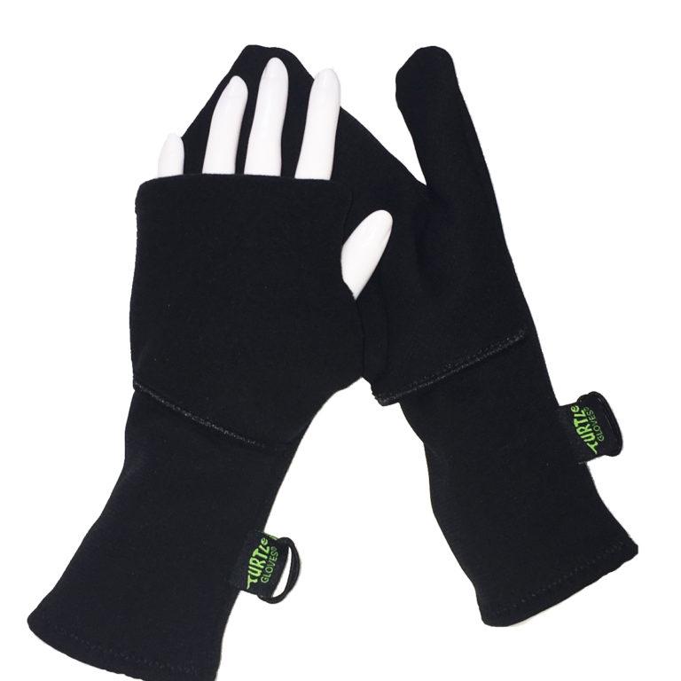 Turtle Gloves Turtle-Flip Running Mittens Midweight Winter Trail black