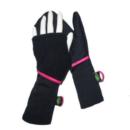 Turtle Gloves Turtle-Flip Running Mittens Lightweight Black Pink Trim