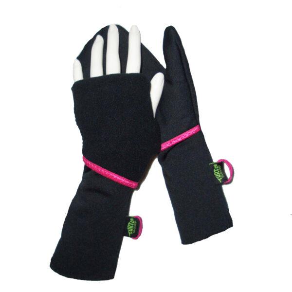 Turtle Gloves Turtle-Flip Running Mittens Lightweight Black Pink Trim