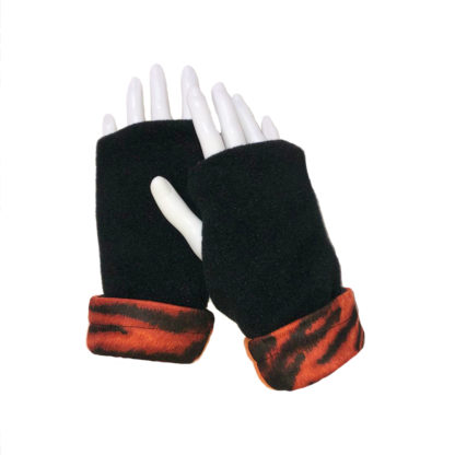 Turtle Gloves REVERSIBLE Fingerless Tiger Zebra