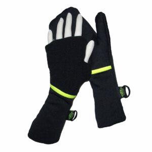 Turtle Gloves Turtle-Flip Running Mittens Lightweight Black Yellow Trim