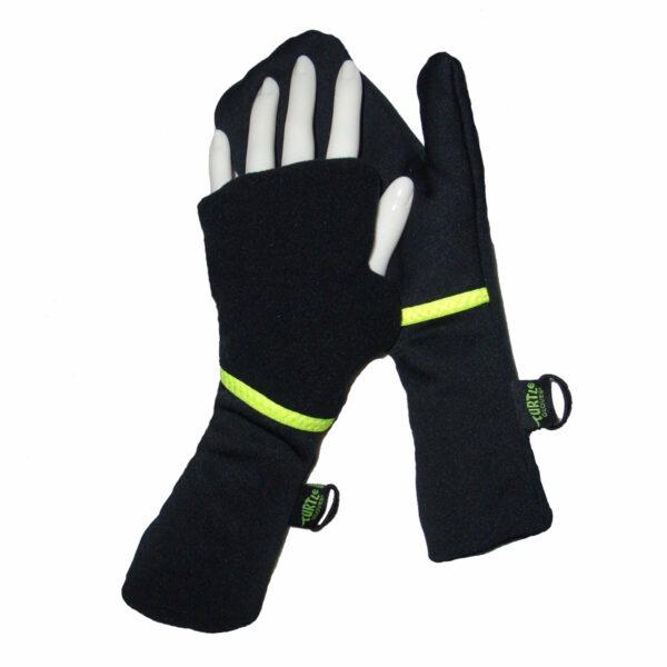 Turtle Gloves Turtle-Flip Running Mittens Lightweight Black Yellow Trim