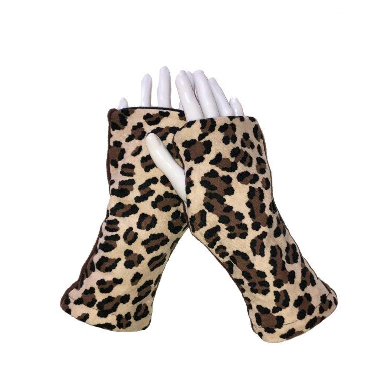 Turtle Gloves REVERSIBLE Fingerless Leopard Sparkle
