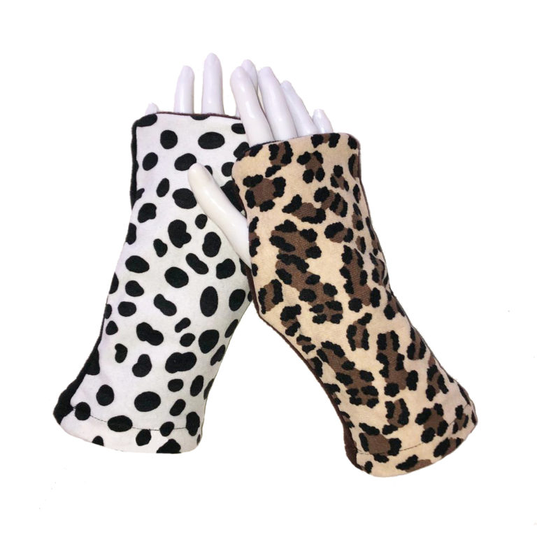 Turtle Gloves REVERSIBLE Fingerless Cheetah Dalmatian
