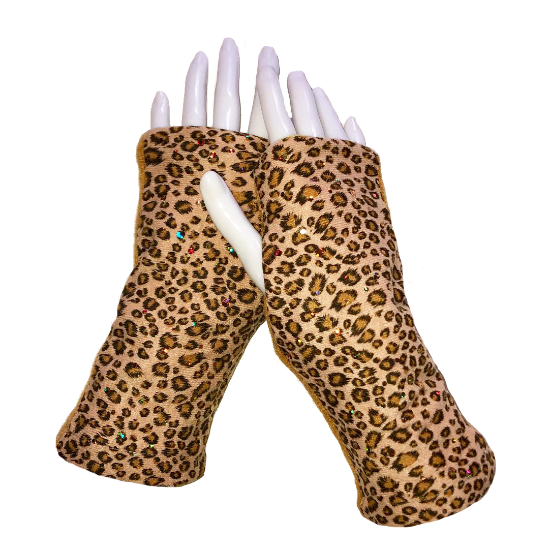 Turtle Gloves REVERSIBLE Fingerless Leopard Sparkle