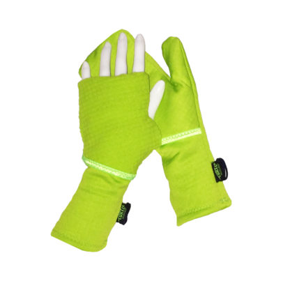 Turtle Gloves Turtle-Flip Running Mittens Lightweight Grid Lime