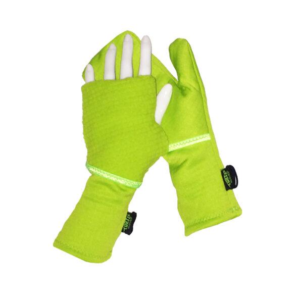 Turtle Gloves Turtle-Flip Running Mittens Lightweight Grid Lime