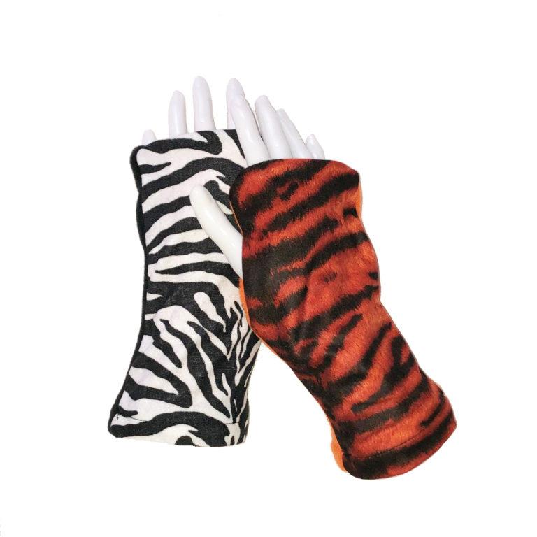 Turtle Gloves REVERSIBLE Fingerless Tiger Zebra