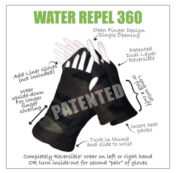 Turtle Gloves WATER REPEL 360 Visual Description