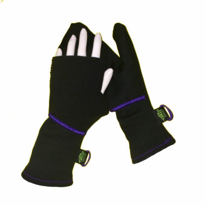 Turtle Gloves Turtle-Flip Mittens Winter Trail black w/ purple trim