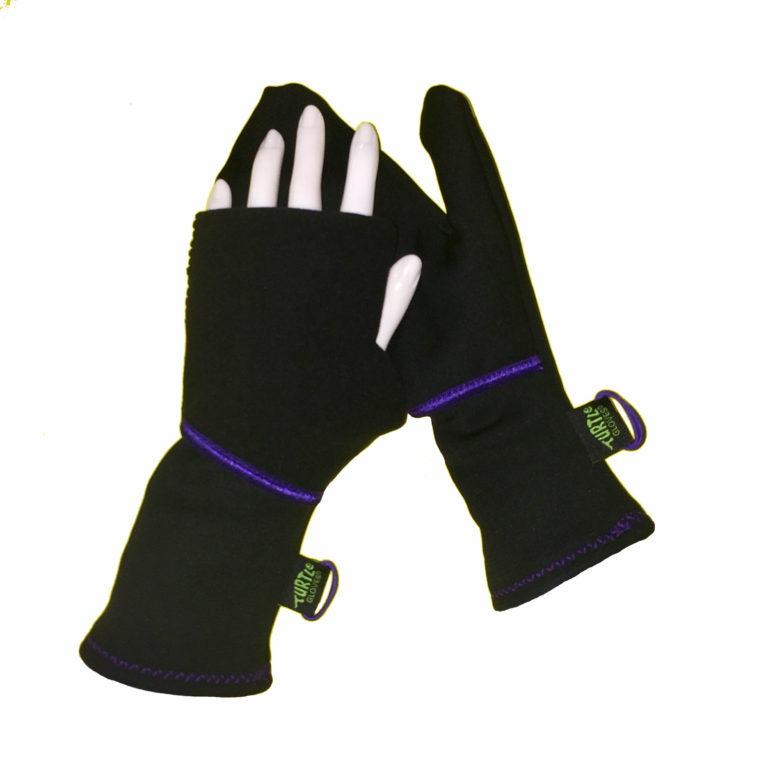 Turtle Gloves Turtle-Flip Mittens Winter Trail black w/ purple trim