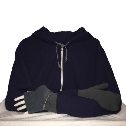 Turtle Gloves Mitten Hoodie Navy Gray