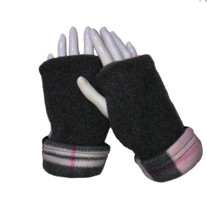 Turtle Gloves REVERSIBLE Fingerless Plaid Pink Gray