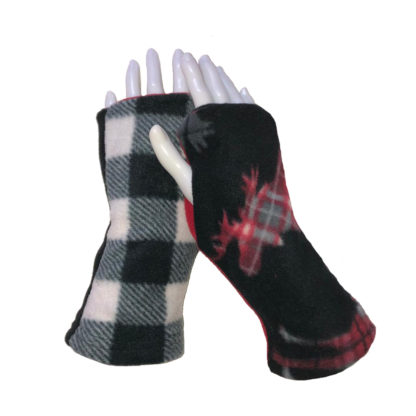 Turtle Gloves REVERSIBLE Fingerless Plaid Moose