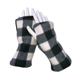 Turtle Gloves REVERSIBLE Fingerless Plaid Blue
