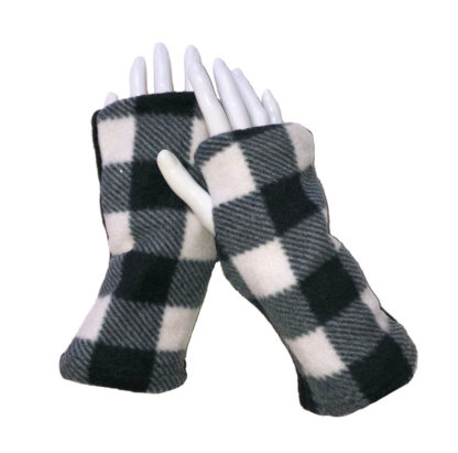 Turtle Gloves REVERSIBLE Fingerless Plaid