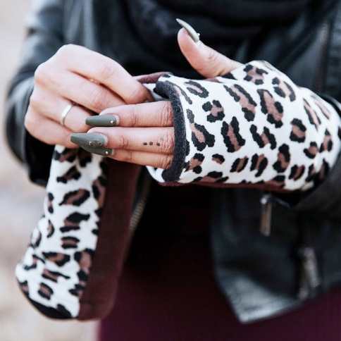 Turtle Gloves REVERSIBLE Fingerless Gloves Cheetah