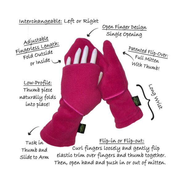 Convertible Mittens Fleece Turtle Gloves Turtle-Flip Description
