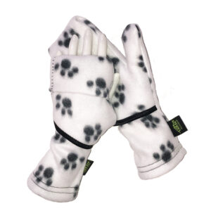Convertible Mittens Fleece Turtle Gloves Turtle-Flip White Puppy Paws