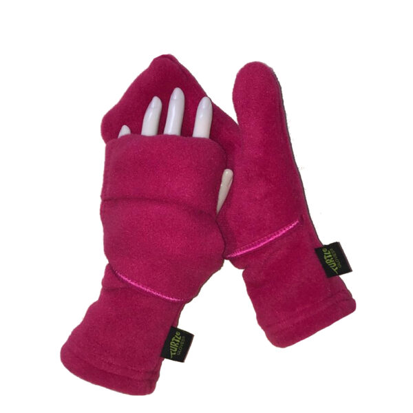 Convertible Mittens Fleece Turtle Gloves Turtle-Flip Cozy Pink