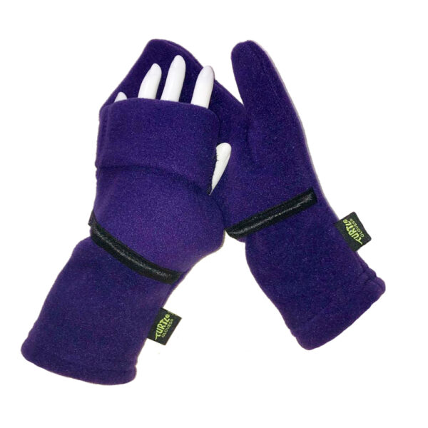 Convertible Mittens Fleece Turtle Gloves Turtle-Flip Cozy Purple