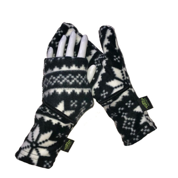 Convertible Mittens Fleece Turtle Gloves Turtle-Flip Nordic Black