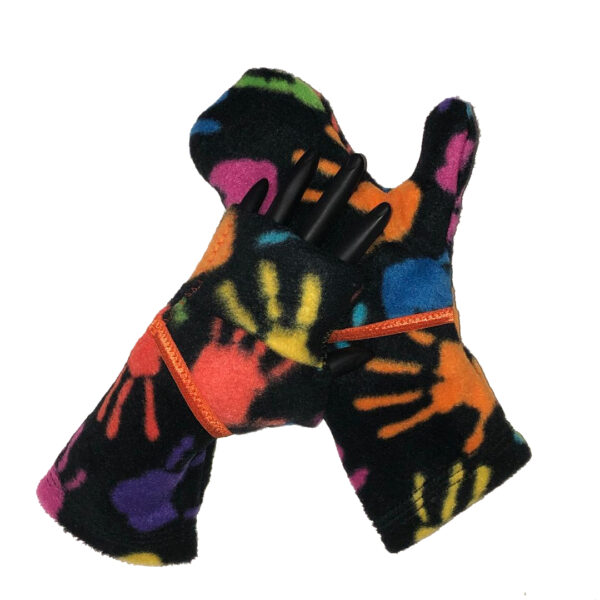 Convertible Mittens Fleece Turtle Gloves Turtle-Flip Painted Hands