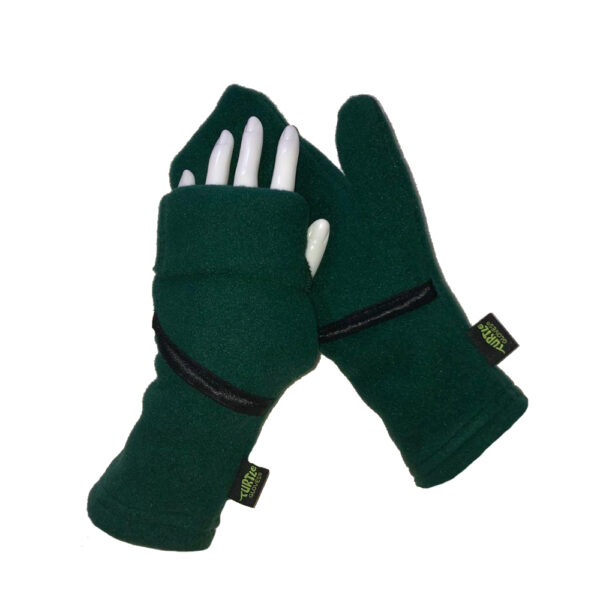 Convertible Mittens Fleece Turtle Gloves Turtle-Flip Cozy Green
