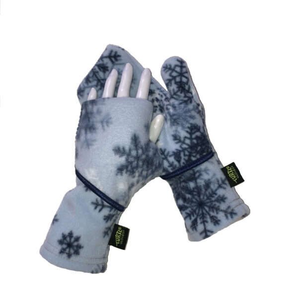 Convertible Mittens Fleece Turtle Gloves Turtle-Flip Snowflake