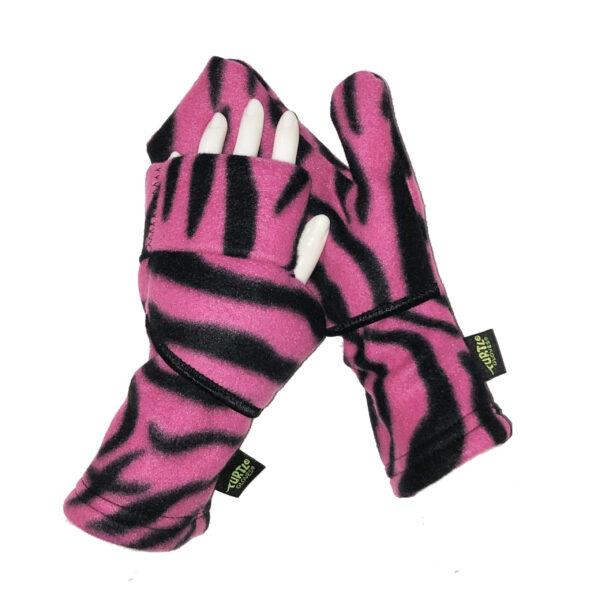 Convertible Mittens Fleece Turtle Gloves Turtle-Flip Pink Zebra