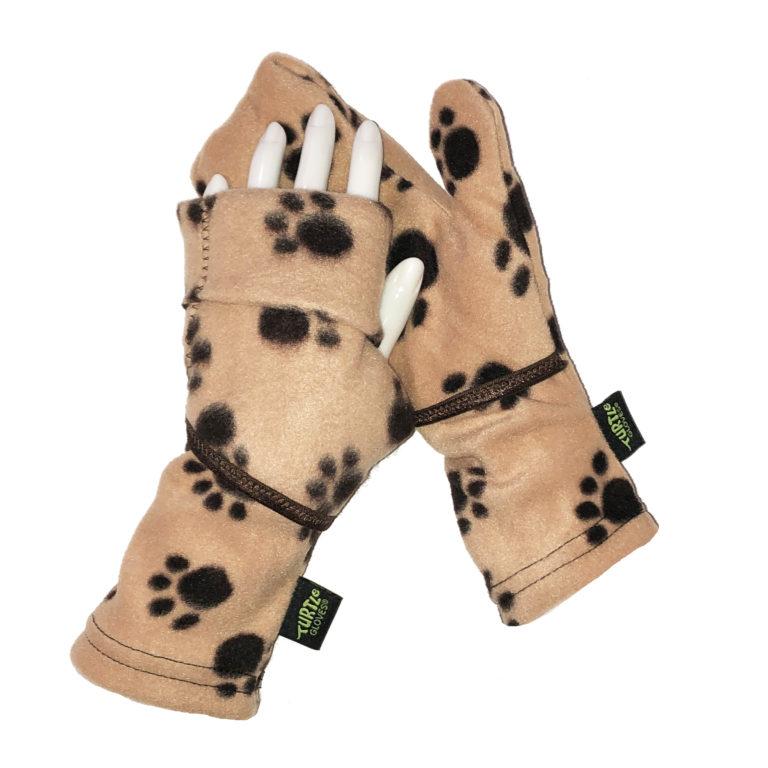 Convertible Mittens Fleece Turtle Gloves Turtle-Flip Paws Brown