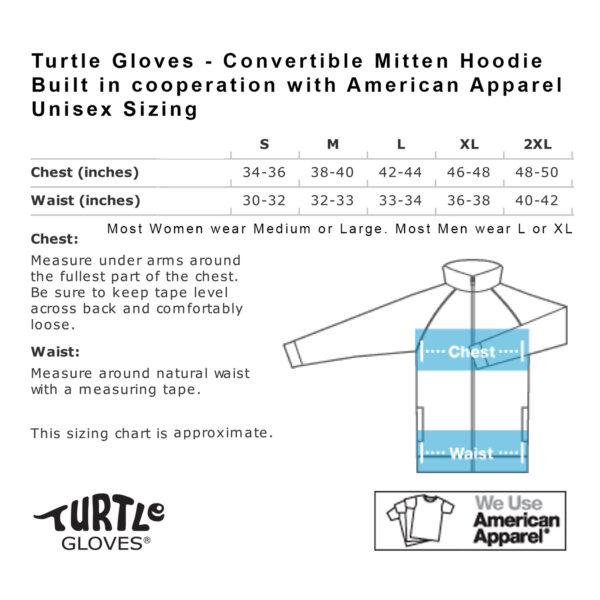 Turtle Gloves Mitten Hoodie Size Chart
