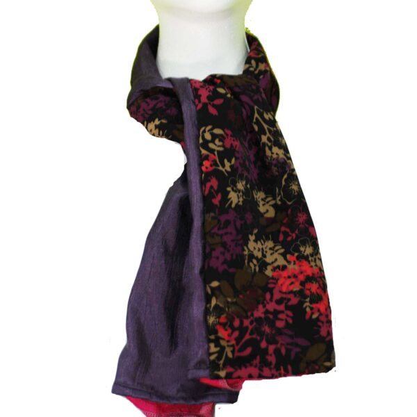 Fashion Scarf Reversible Purple Floral