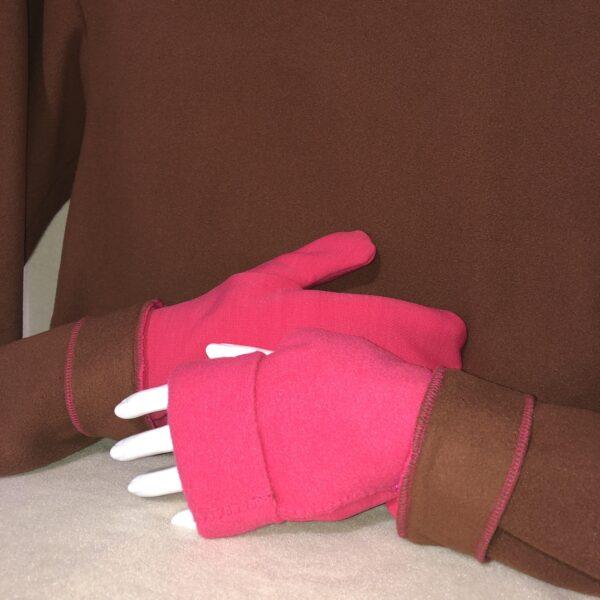 Turtle Gloves Mitten Hoodie Brown and Pink