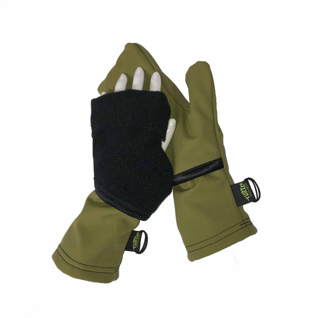 Turtle Gloves Aqua-Flip Mittens Weather Protect Heavyweight Olive
